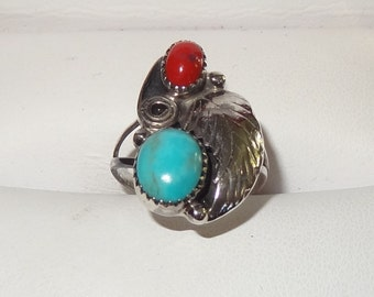 Vintage Sterling Silver, Turquoise and Red Coral Ring Size 6 1/2