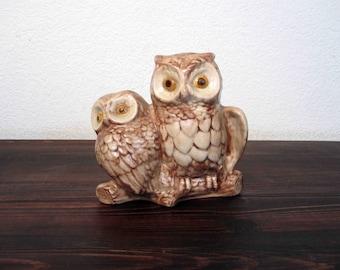 Vintage Ceramic Owls on Branch Statuette / Retro Owl Figurine