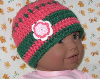 Baby Crochet Cap, Pink and Green Baby With Flower