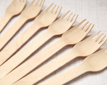 50 Eco-Friendly Wooden Utensils FORKS - Eco Friendly - For Handmade Wedding // Birthday // Holiday // Craft Party