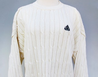 Vintage IZOD Sweater Large, Mens Summer Sweater L NOS Cotton Cable Stripe Sweater Ivory White,  Spring Sweater Unisex USA