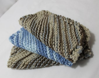 Set of 3 Hand Knitted Dish or Wash Cloths, Blue & Brown