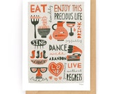 Enjoy This Precious Life (red) - Greeting Card (2-50C)