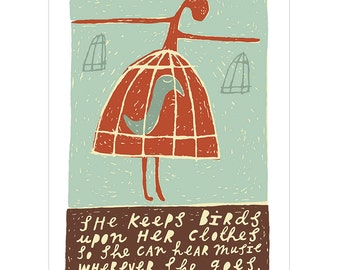 She Keeps Birds Upon Her Clothes - Fine Art Print