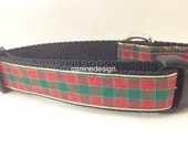 Christmas Dog Collar, Shiny Plaid,1 inch wide, adjustable, quick release, metal buckle, chain, martingale, hybrid, nylon