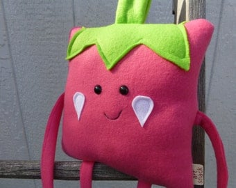 Strawberry Plush, Fruit Square, Strawberry Toy, Stuffed Strawberry, Kawaii