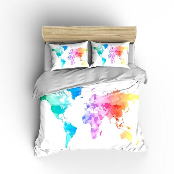 Pastel Watercolors World Map Custom Bedding Toddler Tw Qu