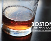 Boston Maps Rocks Glass, set of 4
