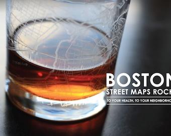 Boston Maps Rocks Glass, set of 4
