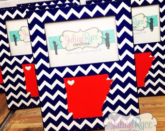 Custom Arkansas State Silhouette Chevron Picture Frame