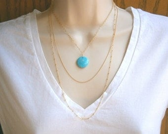 Layer Necklace, Turquoise Necklace, Gold Necklace, Turquoise Pendant Necklace, Long Layering Necklace, Bohemian, Layering Necklace