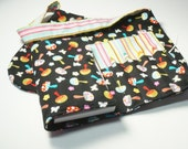 Handmade Crayon Wallet and Matching Purse - Mini Mushrooms in Black - girl birthday gift.art wallet.small purse.Crayons and Pad NOT INCLUDED