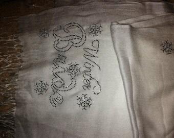 Winter Bride Rhinestone Pashmina Shawl - Beautiful Woman's Scarf for Bride - White