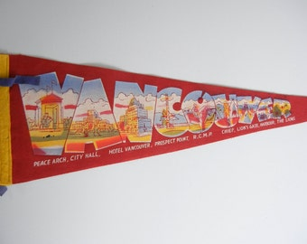 Vancouver souvenir pennant / Red felt pennant with city scenes buildings and Vancouver BC / Canada / mountie / white blue yellow / RV decor