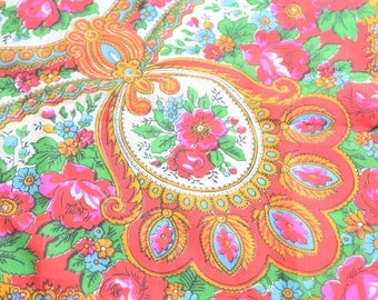 Floral SILK scarf / Red pink gold blue green white black flowers / rolled edge / silk scarf / Autumn / Mother / shawl / neckerchief / ornate