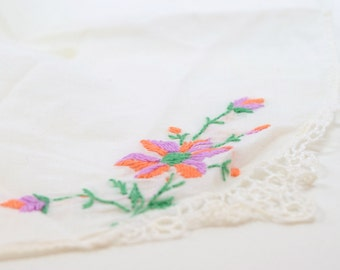 Vintage Hankie / orange purple and green on white / embroidered / green leaves / hanky / linen / cream / Love / lace corner / gift
