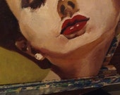 Brunette With Pearls Original Oil Painting FRESH