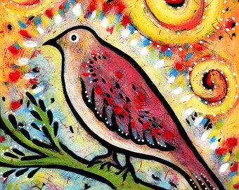 Whimsical Art, Gallery Wrap Canvas Bird Print - Shimmer and Shine