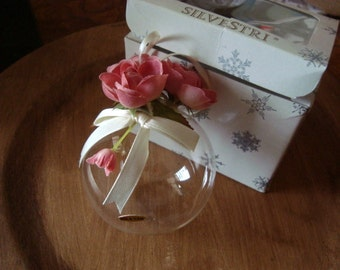 Vintage Silvestri Shabby Cottage Chic Glass Ornament with Box