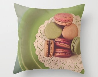 Macarons on Green - Nostalgic Dreamy Vintage Style Food Photography home decor pillow