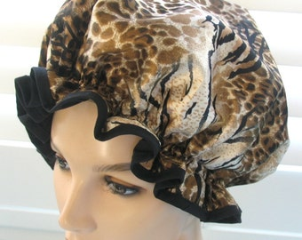 Hand made Shower cap, Animal print outer satin