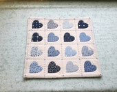 vintage fabric blue hearts quilted table mat, center piece, wall hanging    you decide its use!