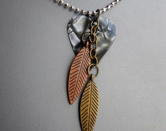 Gray Celluloid Plastic Guitar Pick Steam Punk Charm Long Pendant Necklace, feather watch gear silver copper tone metal