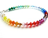 Rainbow Bracelet. Swarovski Crystals in Rainbow Colors Bracelet Sterling Silver Clasp