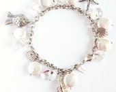 Beach Bracelet. Lobster, Seabass, and Starfish Charm Bracelet. Coin Pearls, Crystal Sterling Silver. Beach themed wedding bracelet.