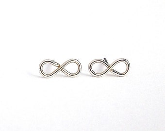 Sterling Silver Infinity Studs. Infinity Post Earrings. Infiniti Figure 8 Wire Earrings. Small Girls Earrings.
