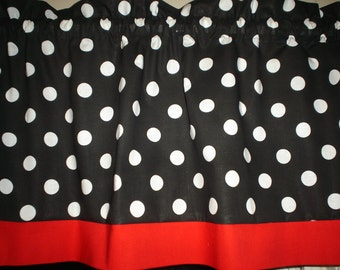 Black White Polka Dot Red Trim Mickey Minnie Mouse  Bedroom Kitchen Window Valance Curtain