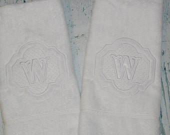 PERSONALIZED set of 2 Hand Towel Monogrammed Embossed