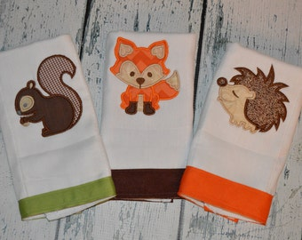Personalized Forest Animals Burp cloth Set of 3  Burpies  Monogrammed Fox Hedgehog and Squirrel