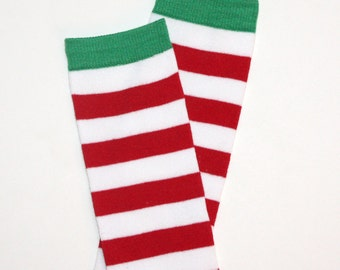 Red and White Striped Christmas Baby Toddler Leg Warmers