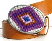Needlepoint Diamond Eye Belt Buckle