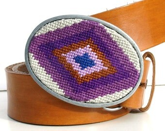 Needlepoint Diamond Eye Belt Buckle