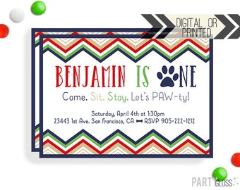 Puppy Party Invitation | Digital or Printed | Dog Party | Chevron Dog Invitation | Puppy Invitation | Paw Print Invitation | Puppy Pawty
