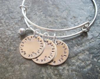 Circle Of Life - Latitude Longitude Adjustable Bangle Bracelet - Swarovski Pearl - Personalized