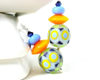 Geometric Earrings, Colorful Glass Earrings, Blue Orange Purple Green Earrings, Dangle Earrings, Bright Colorful Jewelry, Lampwork Earrings,