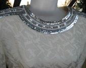 sz 6 SILK CLEOPATRA COLLAR Winter White Dazzling size 6 Petite vintage silver beading beaded dress