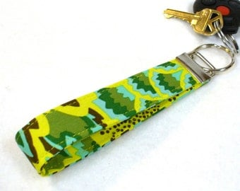 CLEARANCE SALE Wristlet Key Fob Amy Butler Fabric Keyring Keychain Peacock Feathers Chartreuse Turquoise Sea Green Handmade Fabric Key Ring