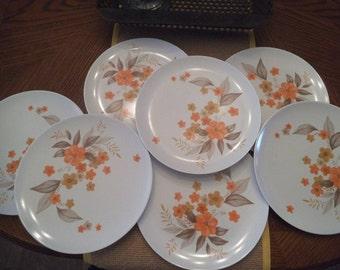 7 vintage Texas ware Melamine Plates ~ Mid Century Modern TEXASWARE  Orange and Yellow goldenrod Flowers