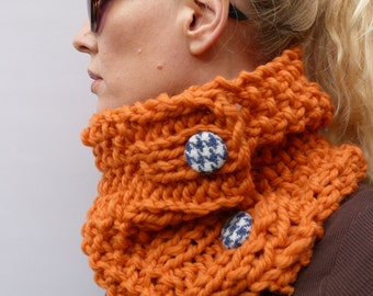 Womens Scarf, Womens Cowl, Burnt Orange Handknitted Cowl, scarf, neckwarmer 100% merino wool
