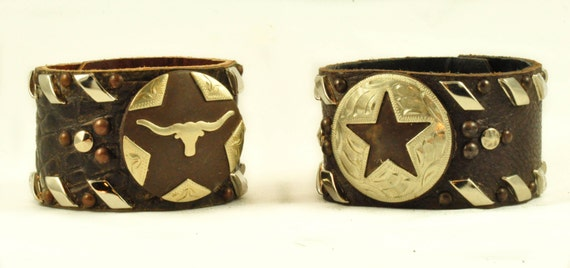 CONCHO CUFFS -  Wide Cuffs with Texas Star or Longhorn Concho