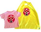 Luchador Rosa - Pink Mexican Wrestler Toddler T-Shirt & Yellow Cape Combo
