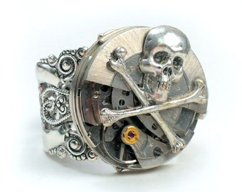 Steampunk Vintage Swivel Mechanism Watch Movement and Skull Adjustable Ring