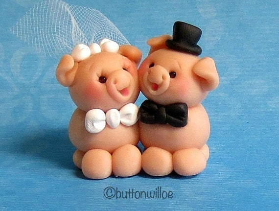 Itty Bitty Piggy Handmade Miniature Bride and Groom Wedding Cake Topper or Cupcake Topper 1 inch tall to 1 1/4 inch tall