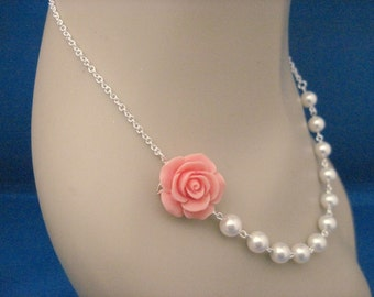 Bridesmaid Jewelry Coral Rose and Pearl Bridal Necklace
