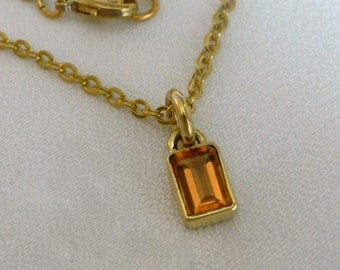 Delicate Brass Necklace with Rectangular Citrine