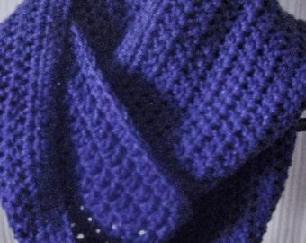 Clearance Sale Crochet Navy Blue Cowl Infinity Scarf